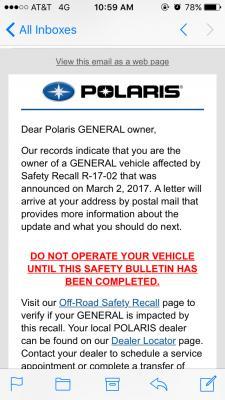Safety recall - Polaris General 1000 Forum